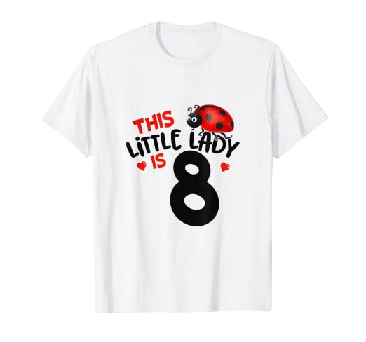 aff8844f550f6 Amazon.com: This Little Lady Is 8 Ladybug Birthday Girl Tshirt: Clothing
