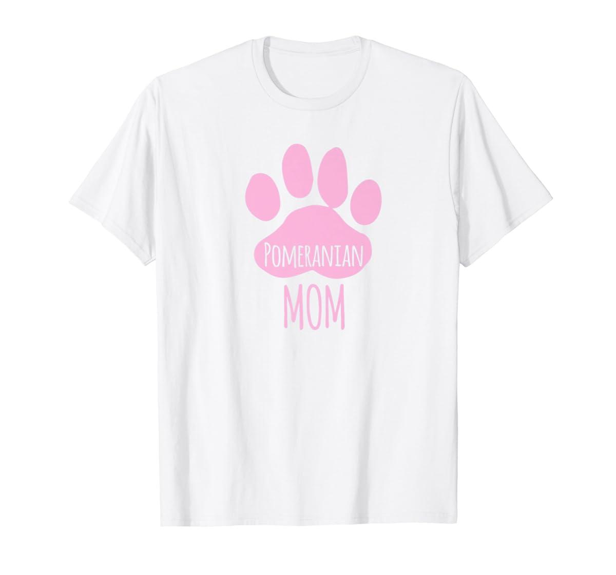 Cute Pomeranian Mom T Shirt for Pom Owner Dog Paw Pink-Men's T-Shirt-White