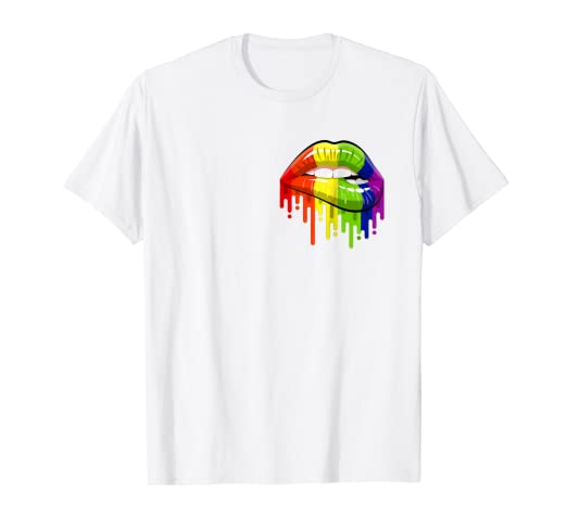 3ad81e12 Image Unavailable. Image not available for. Color: LGBT Rainbow Shirt Lips Pocket  Pride Gay Homosexual Lesbian