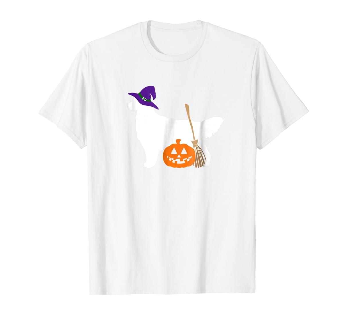 Golden Retriever Witch Hat Halloween Dog T-Shirt-Men's T-Shirt-White
