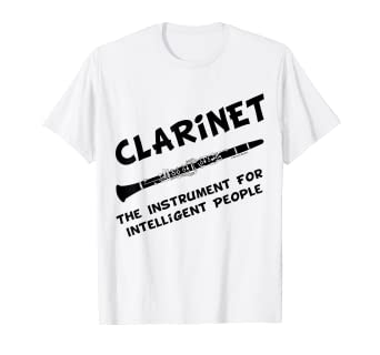 270a55342 Image Unavailable. Image not available for. Color: Intelligent Clarinet  Funny Musical Instrument T-Shirt