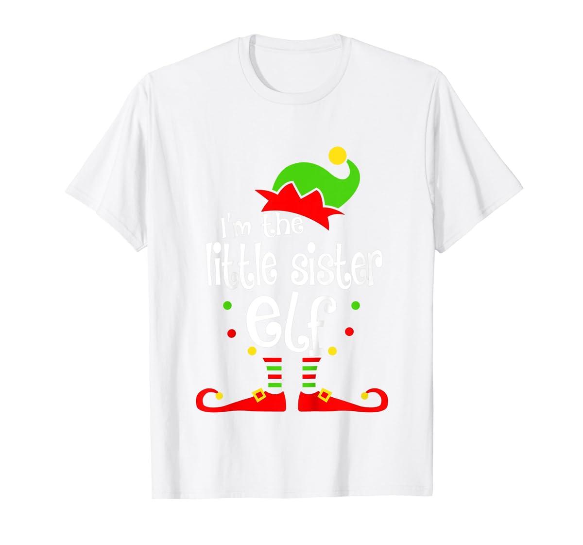 Kids Little Sister Elf Christmas Costume Outfit Xmas Gift T-Shirt-Men's T-Shirt-White