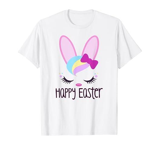 e3bc73f51b617 Amazon.com: Bunny Face HAPPY EASTER Shirt Girls Kid Toddler Love ...