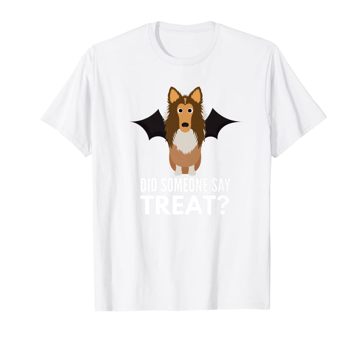 Rough Collie Halloween - Did Someone Say Treat? Premium T-Shirt-Men's T-Shirt-White