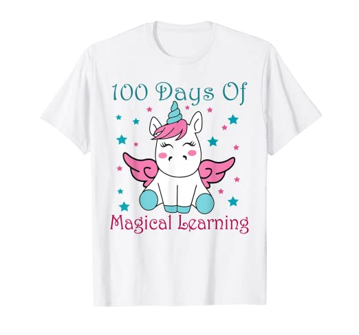 d5eb11781 Image Unavailable. Image not available for. Color: Unicorn 100 Days of  School 100th Girls Magical Shirt