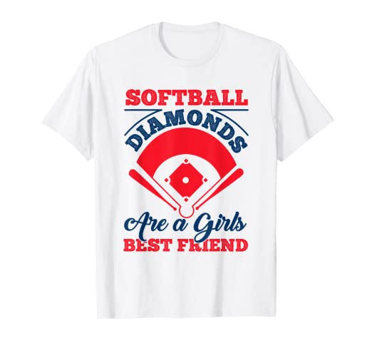 e406162b Image Unavailable. Image not available for. Color: Softball Diamonds Are A Girls  Best Friend T-Shirt