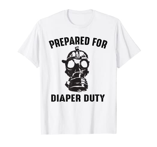 e2a52c173 Image Unavailable. Image not available for. Color: Mens Funny New Dad  Prepared For Diaper Duty Gift T-Shirt