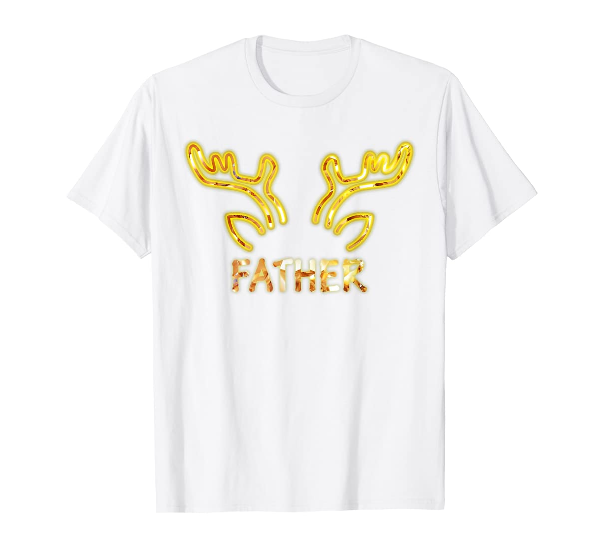 Father Reindeer Matching Family Christmas T-Shirt T-Shirt-Men's T-Shirt-White