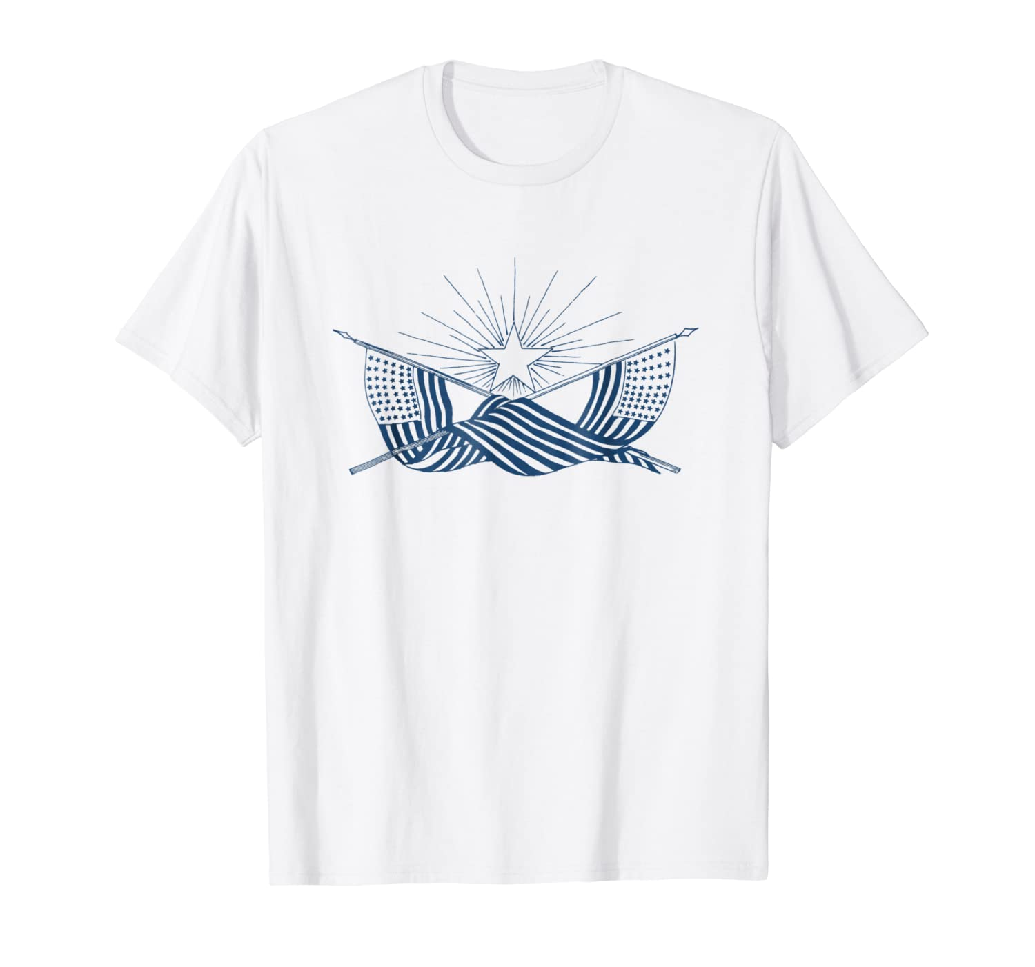 Vintage American Flag Banner w/Shining Star July 4th T-Shirt