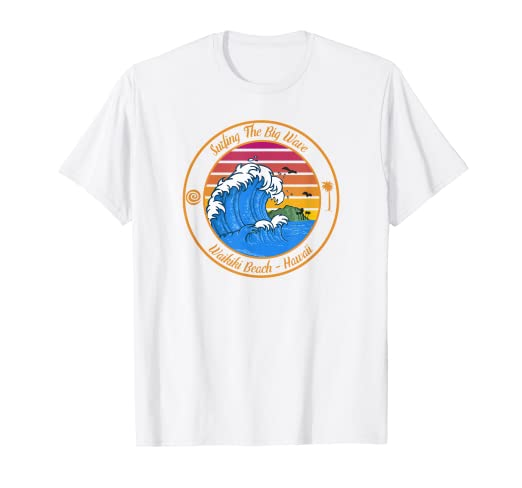 c0aae61847 Amazon.com: Surfing Waikiki Hawaii T Shirt Retro Surfing The Big ...