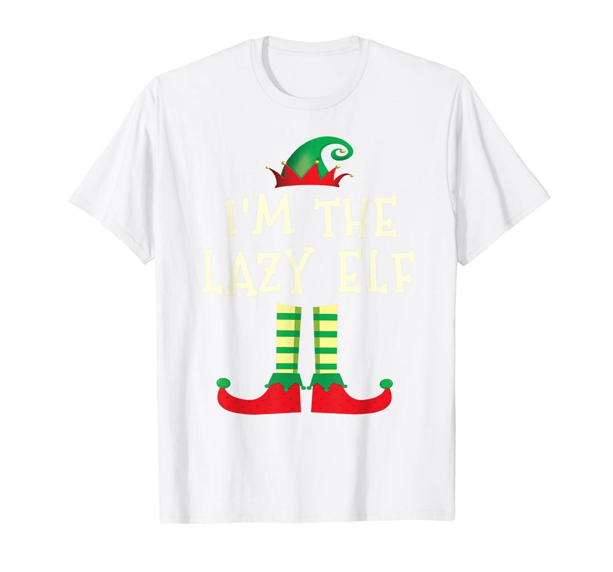 I'm The Lazy Elf Matching Family Elf Christmas T-Shirt-Men's T-Shirt-White