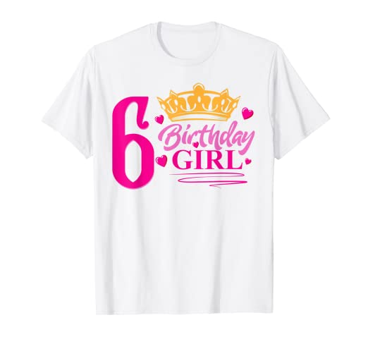 Image Unavailable Not Available For Color Queen 6th Birthday Girl Shirt Party 6 Years Old Bday