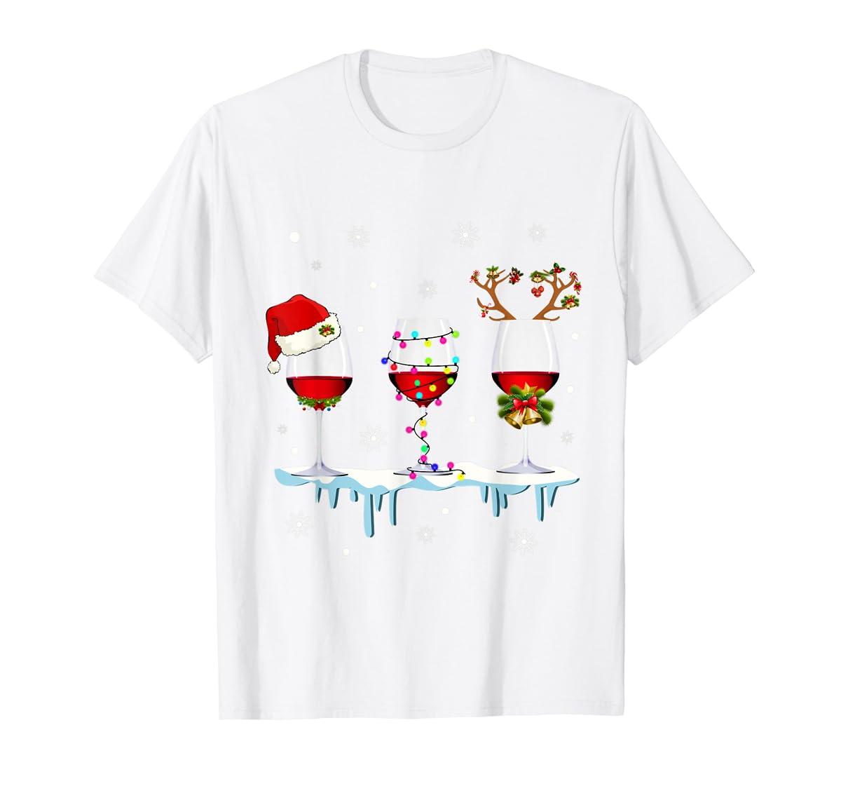 Three Glass of Red Wine Santa Hat Christmas T-Shirt-Men's T-Shirt-White