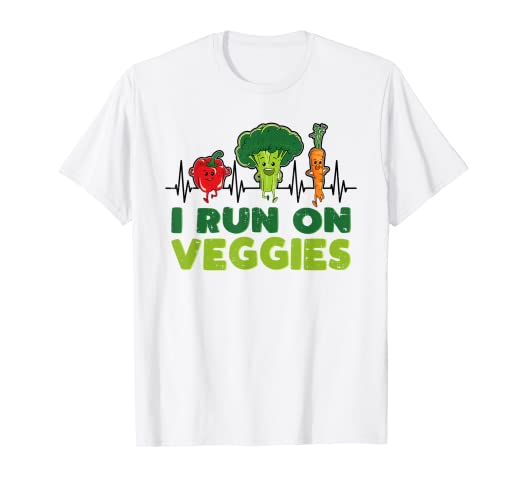 cc5e0c30e Image Unavailable. Image not available for. Color: I Run On Veggies T-Shirt  Vegetarian Heartbeat Vegan Runner