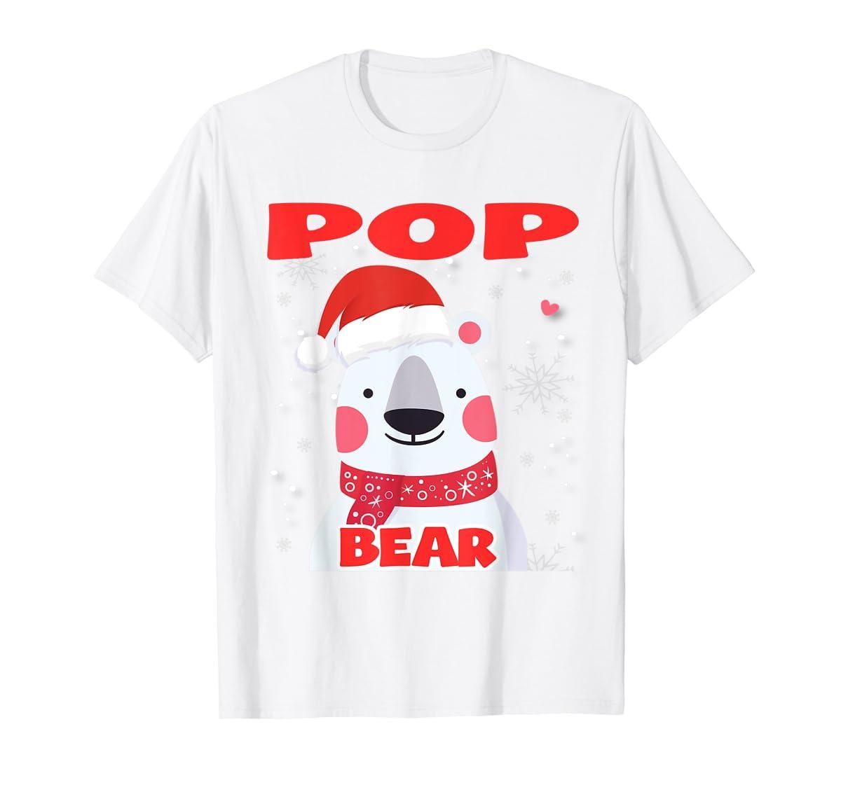Pop Bear Christmas Grandpa Santa T-Shirt-Men's T-Shirt-White