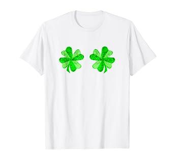 1454a4709 Amazon.com: St Patricks Day Shirt Women Funny Shamrock Boobs Shirt: Clothing