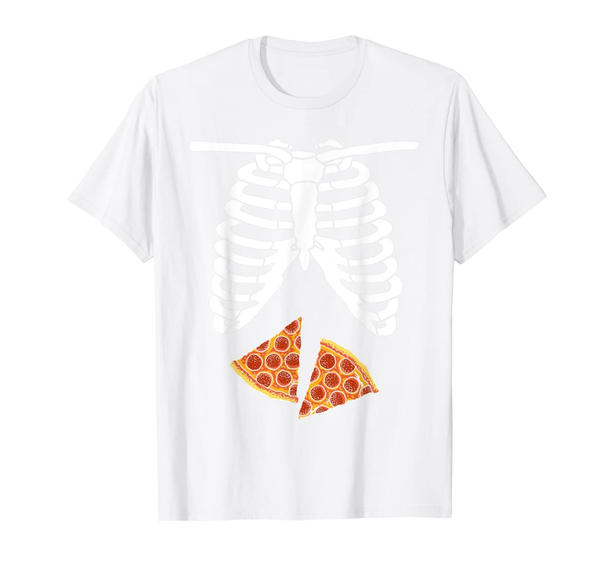 Halloween Skeleton Xray Pizza Slices Costume Rib Cage Easy T-Shirt-Men's T-Shirt-White