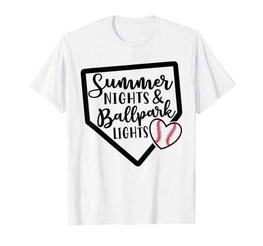 cce257b2bcd Image Unavailable. Image not available for. Color  Summer Nights   Ballpark  Lights Baseball Softball Tshirt