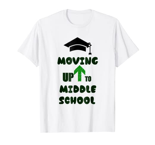 01e483a850 Amazon.com  Moving Up To Middle School Graduation T-Shirt  Clothing