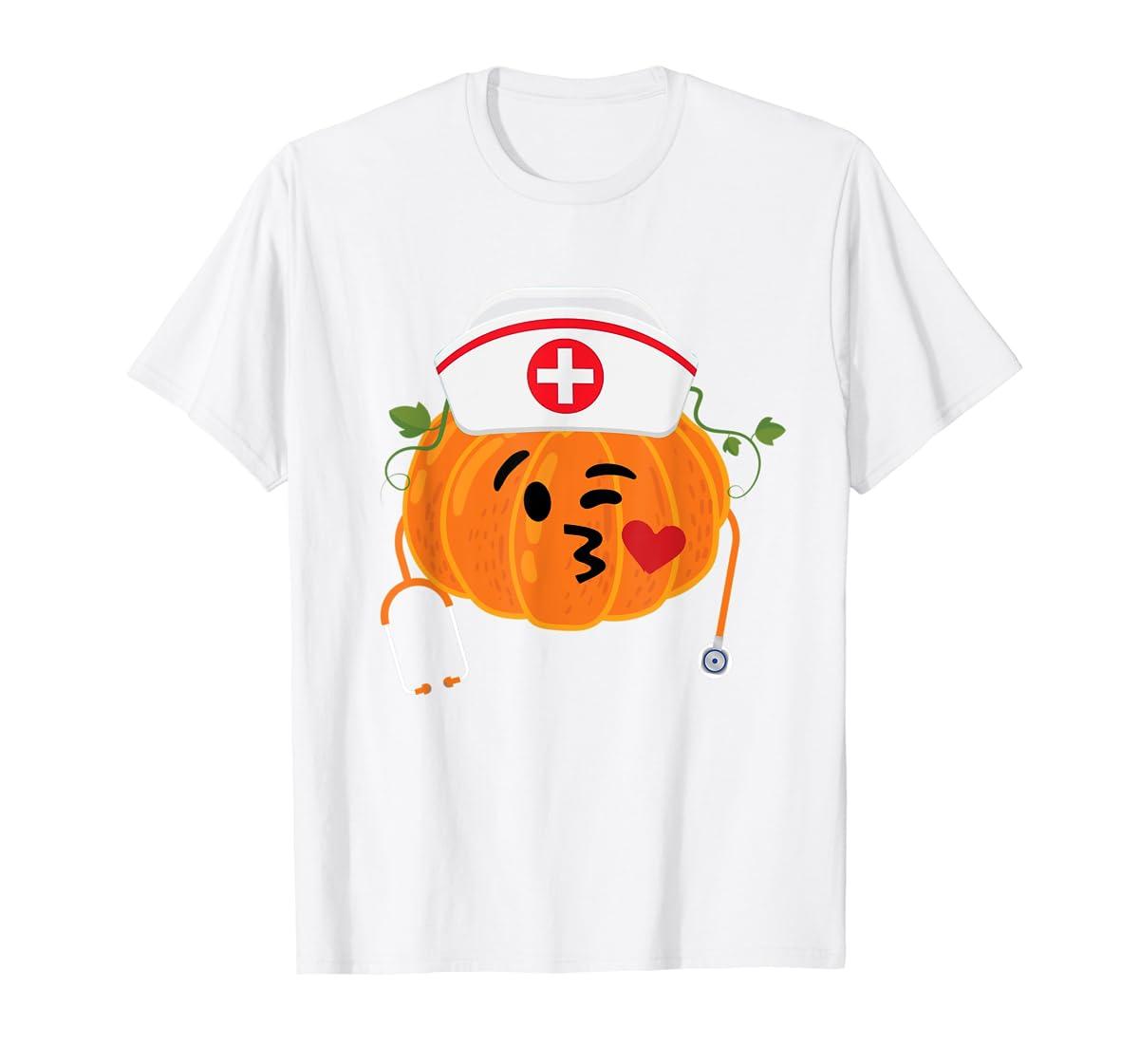 Nurse Stethoscope Pumpkin Funny Nursing Halloween Gift T-Shirt-Men's T-Shirt-White