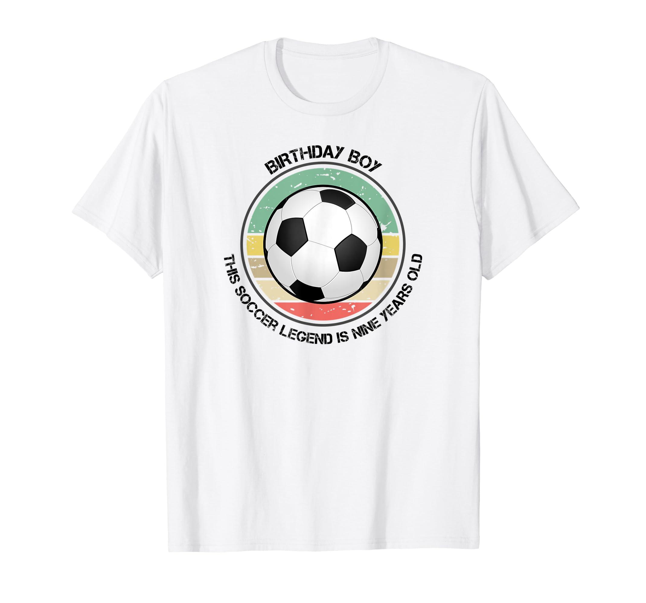 a286db1f714 Amazon.com: 9 Year Old Boy's Birthday Soccer Tee Shirt Boy Nine TShirt:  Clothing