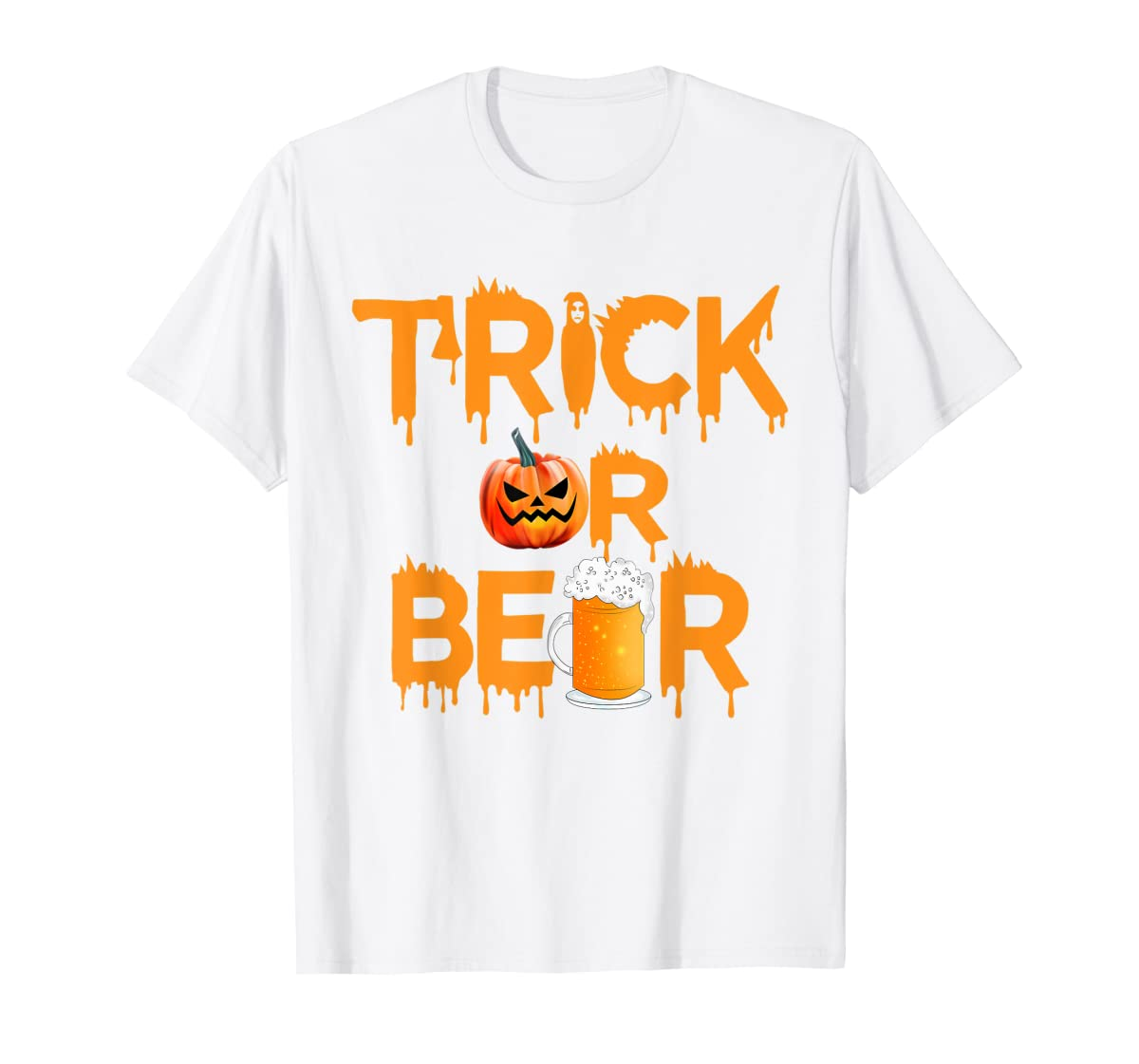 Halloween Costume Trick or Beer Drinking T Shirt Pumpkin Men T-Shirt-Men's T-Shirt-White