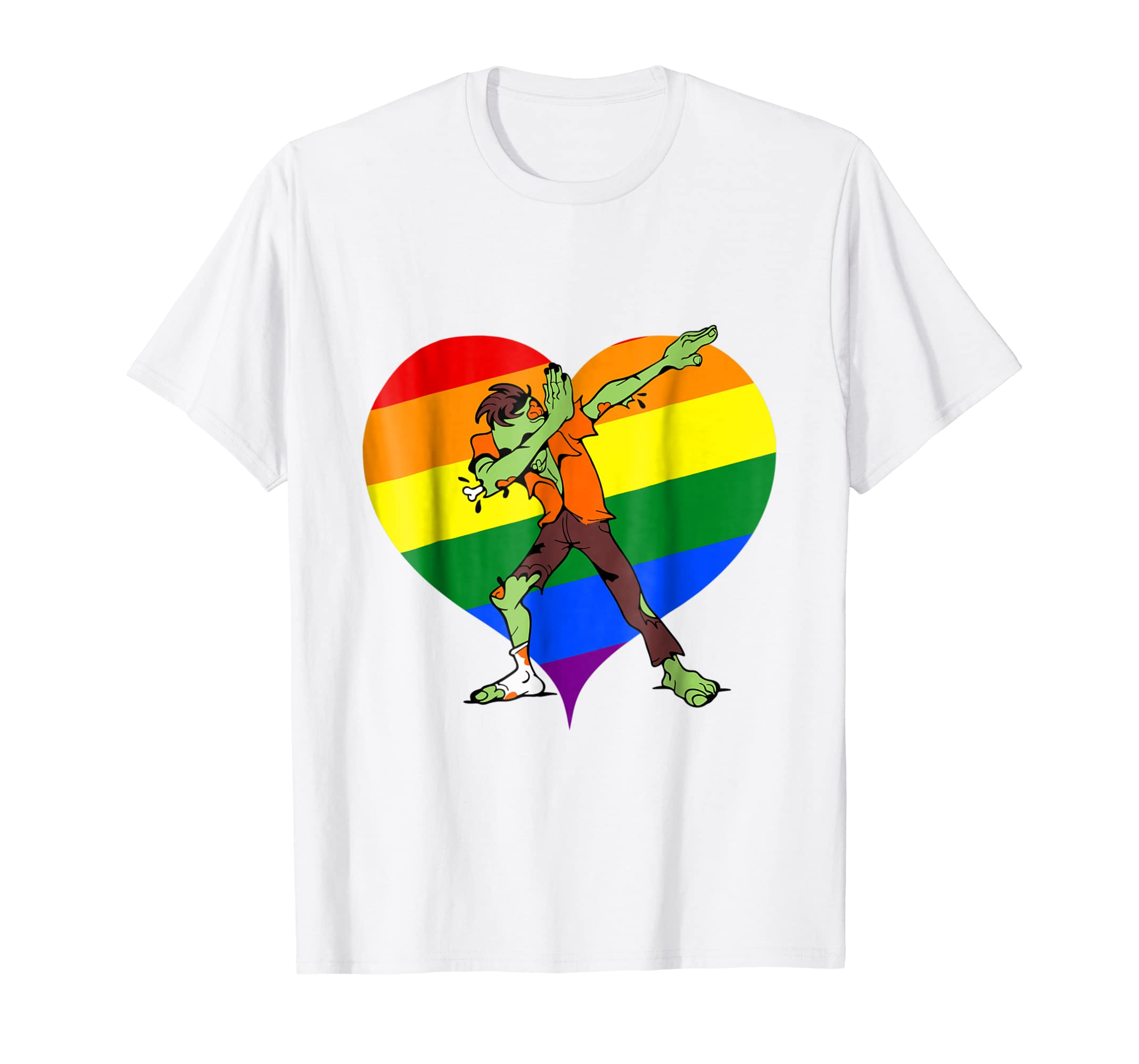 Amazon.com: Valentines Day Dabbing Zombie Tshirt Gay LGBT ...