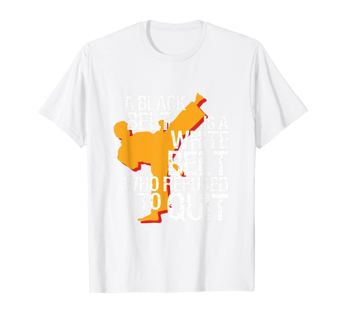 Taekwondo and Karate Black Belt Martial Art Student T-shirt-Men's T-Shirt-White