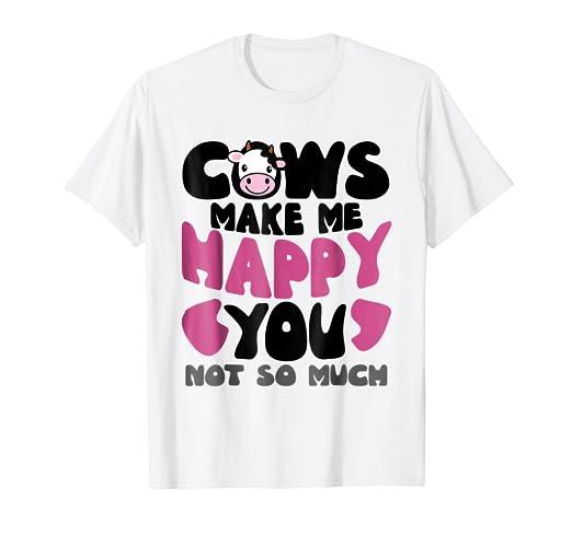 Amazon Farmer Cows Make Me Happy Funny Mom Dad T Shirt Cute