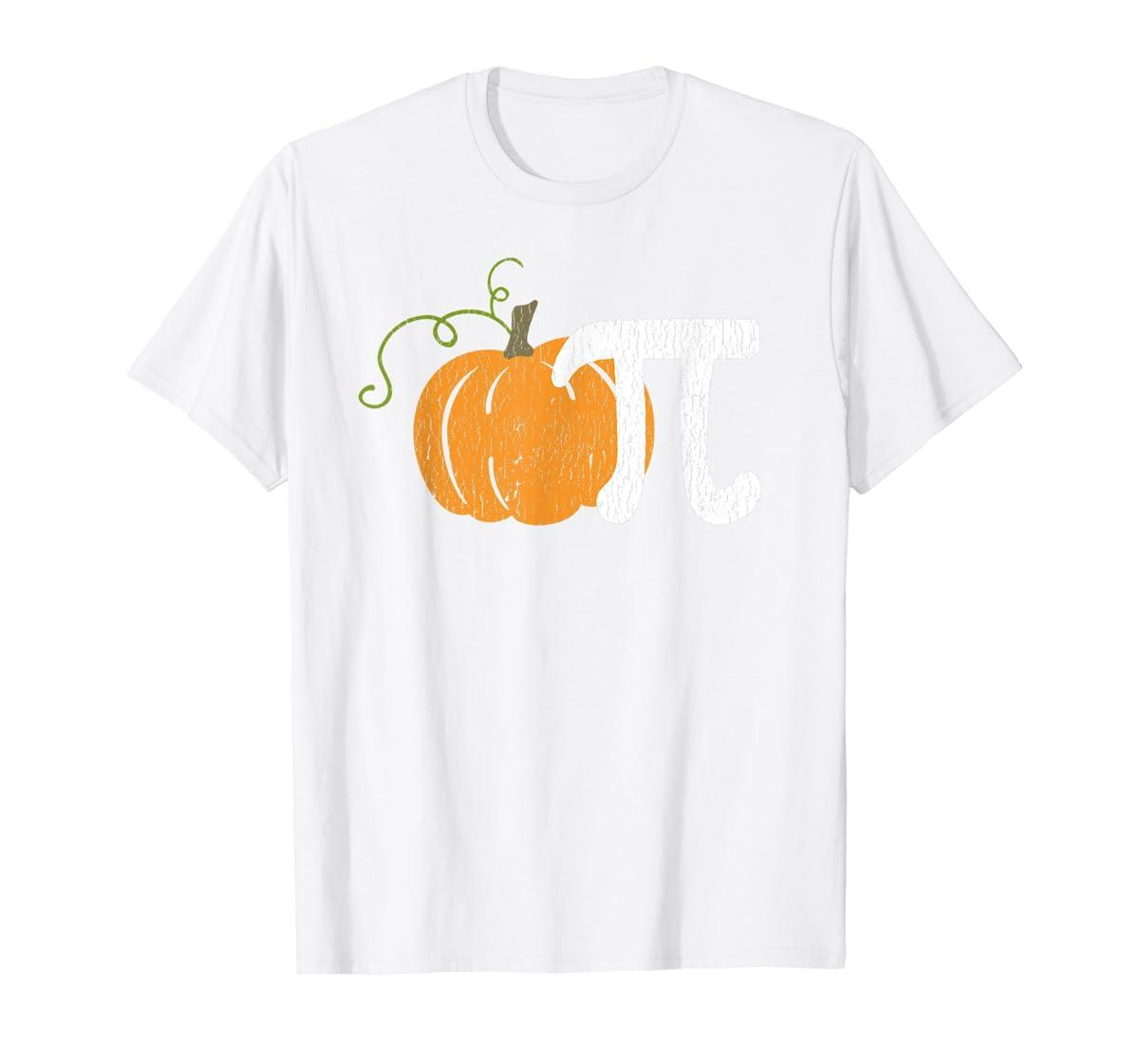 Funny Pumpkin Pie Math Teacher Halloween Pi Humor T-Shirt-Men's T-Shirt-White