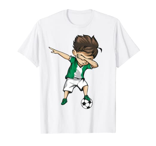 ae002475c Image Unavailable. Image not available for. Color  Dabbing Soccer Boy  Nigeria Jersey Shirt - Nigerian Football