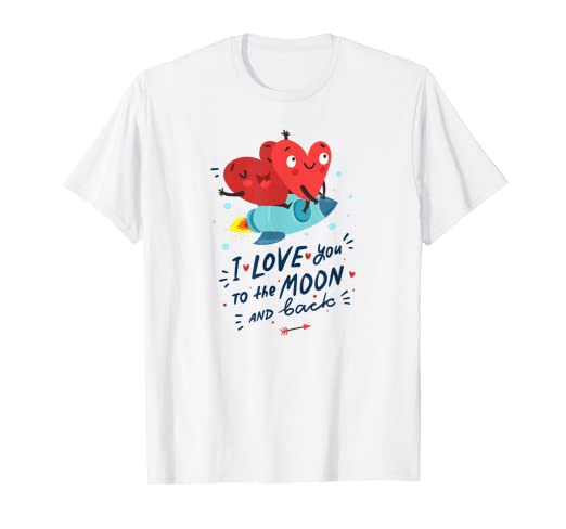 8a6730629 Image Unavailable. Image not available for. Color: Love you to the moon and back  T-shirt - Valentines Day Gift