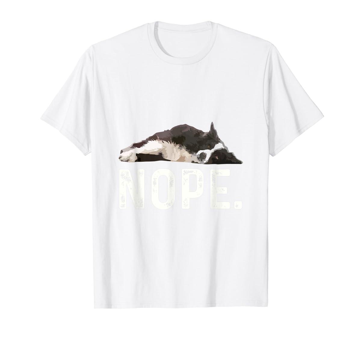 Nope Lazy Border Collie T-Shirt-Men's T-Shirt-White