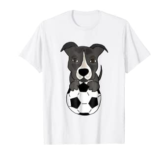 e031d1ce9 Image Unavailable. Image not available for. Color: Smilenowtees Funny Pit  bull Playing Soccer T-shirt