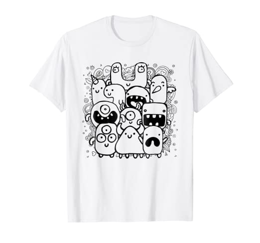 Amazon.com: Doodle Art T-shirt, Monsters, Adult Coloring by Zany ...