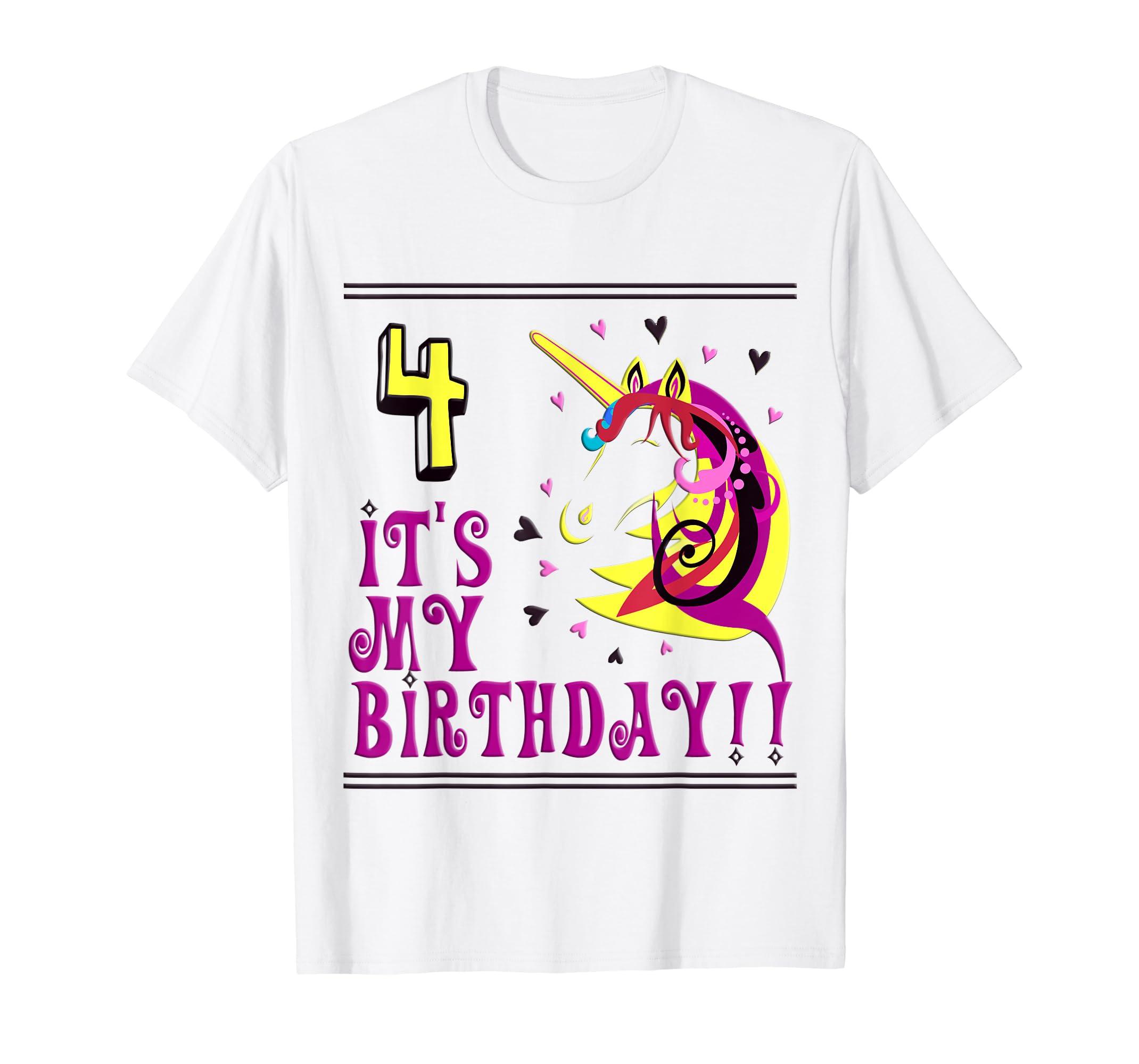 Amazon 4th Birthday Shirts Four Unicorn Shirt Bday Clothing