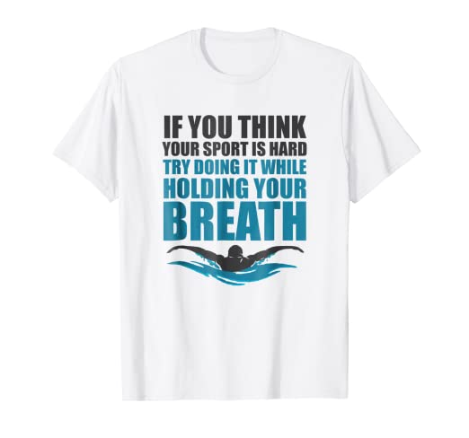 02e45f3b Image Unavailable. Image not available for. Color: Holding your Breath Sayings  T Shirt For Men & Women Swimmers