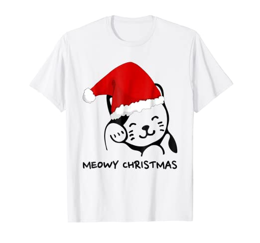 0cbf95ef Image Unavailable. Image not available for. Color: Meowy Christmas Funny  Xmas Kitten Cat T-Shirt Men Women Kids