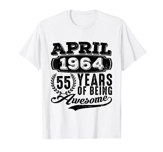 Amazon April 1964 Tshirt 55th Birthday Gift Ideas Men Women Him