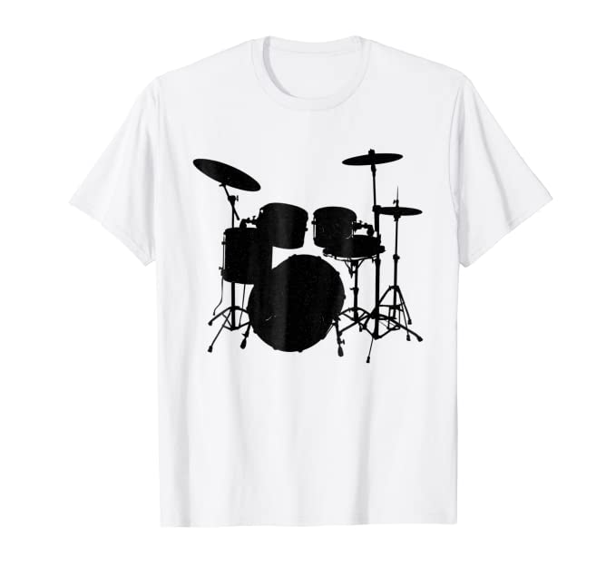 Black Silhouette drum set graphic tee shirt for musicians
