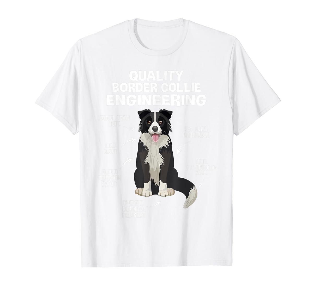 Quality Border Collie Engineering Dog Lover Gift T-Shirt-Men's T-Shirt-White
