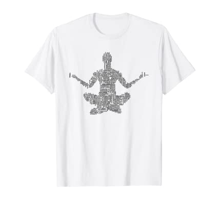 Yoga Words in Lotus Pose t shirt for students instructors