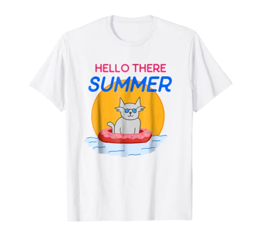 4190d4be839 Image Unavailable. Image not available for. Color  Funny Hello Summer Beach  Cat T Shirt Donut floatie cool gift