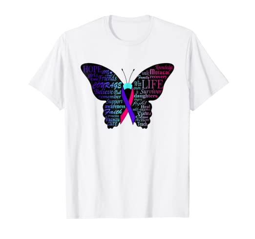 583d03bb6 Image Unavailable. Image not available for. Color: thyroid cancer awareness  t shirt-blue pink butterfly gift