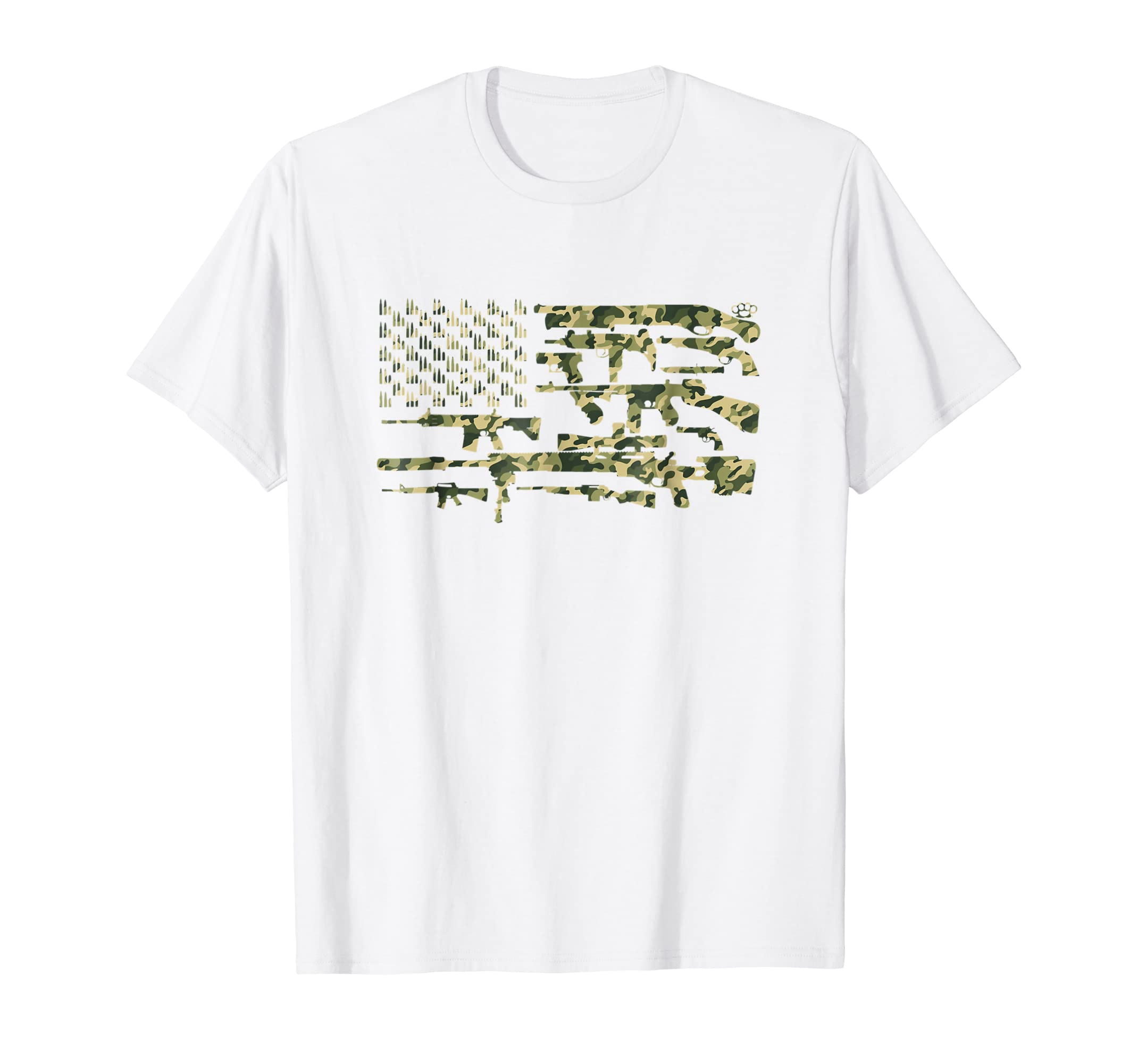 American 2nd Amendment USA Guns Flag Camo Short Sleeve Shirt-mt