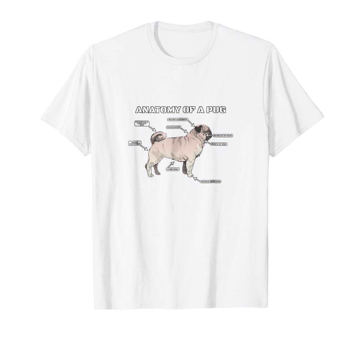 Cute Pug Anatomy T-Shirt - Funny Dog Puppy Tee-Men's T-Shirt-White