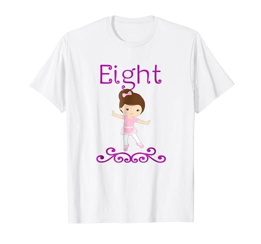 8 Year Old Ballerina Birthday Party 8th Shirt LT
