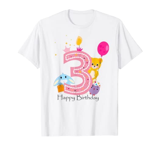 Image Unavailable Not Available For Color Kids Happy 3rd Birthday 3 Years Old Gift T Shirt