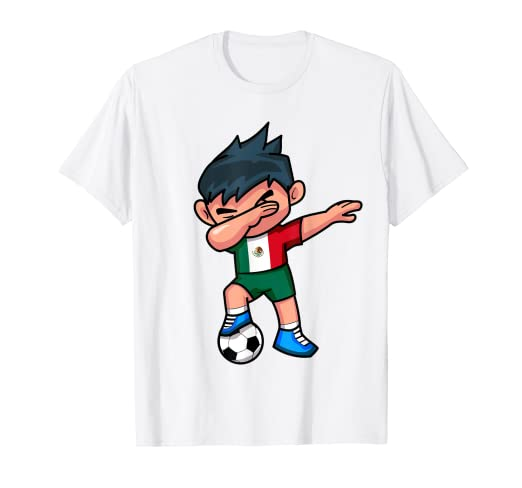 68c3772b18f Image Unavailable. Image not available for. Color: Dabbing Soccer Boy T  Shirt Mexico Mexican Football