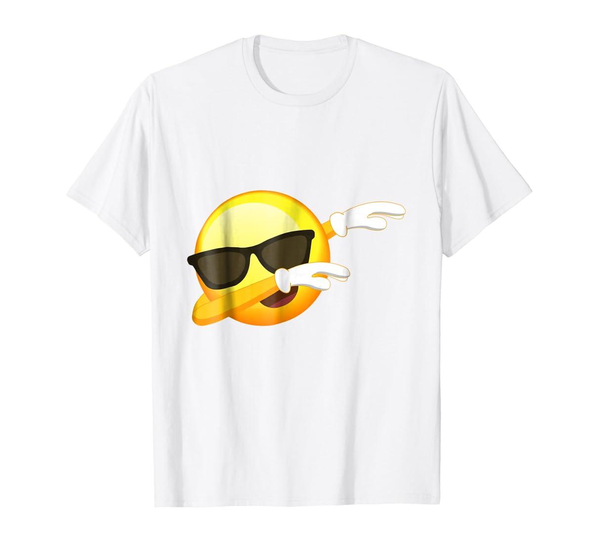 Funny Dabbing Emoji Shirt - Cool Emoji Dab T-Shirt-Men's T-Shirt-White